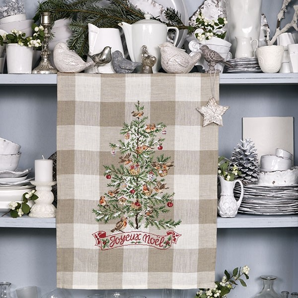 Les brodeuses parisiennes - Mon beau sapin / My beautiful Christmas tree Tea towel