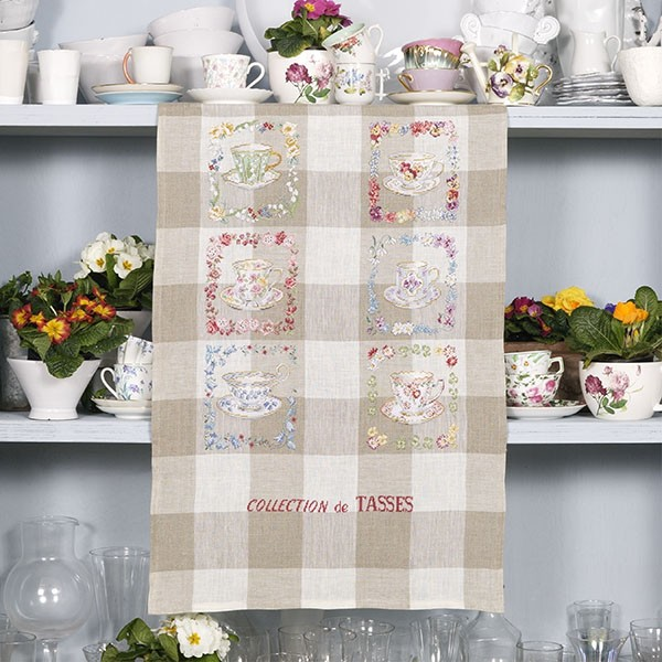 Les brodeuses parisiennes - Collection de tasses / Tea Cup Collection Tea towel
